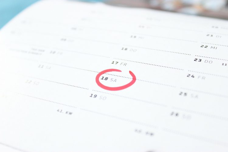picture displaying content calendar with dates circles for appointments and awareness dates